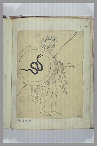 Un soldat armé d'une lance et d'un bouclier, d'après l'antique