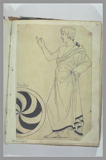 Etude de figure d'après l'antique, et d'un bouclier
