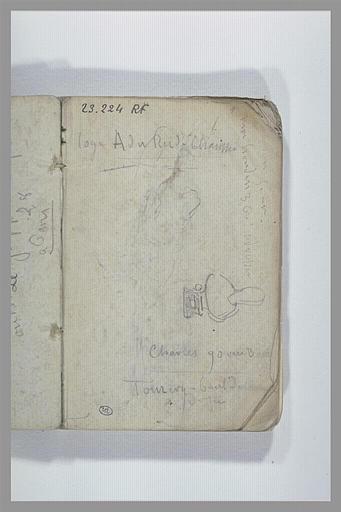Notes manuscrites ; buste ; croquis