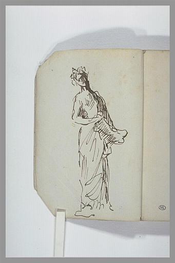 Une femme laurée et drapée, debout, tenant un objet dans une main
