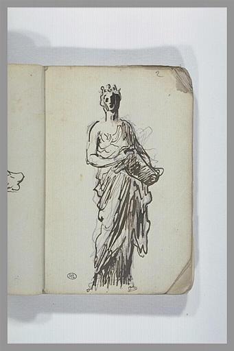 CHAPU Henri Michel Antoine : Une femme couronnée et drapée, debout, tenant un objet dans les mains