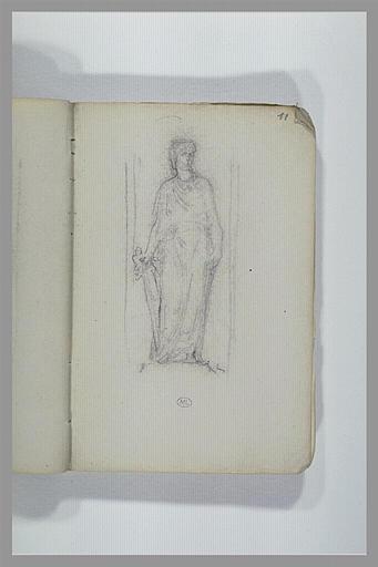 Une figure debout, drapée à l'antique