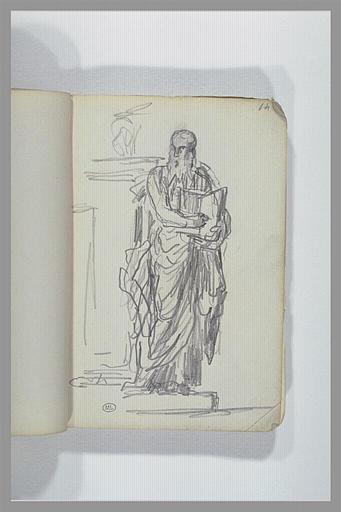Un homme barbu, debout, drapé, tenant un livre