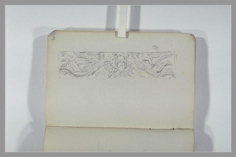 CHAPU Henri Michel Antoine : Une frise avec deux figures volantes tenant un H