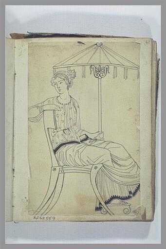 YVON Adolphe : Une femme assise sous un parasol, d'après l'antique