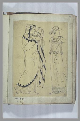 Etude de deux figures féminines d'après l'antique