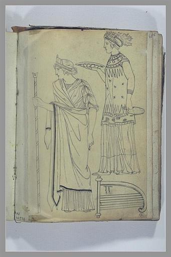 Etude de deux figures d'après l'antique ; harpe grecque
