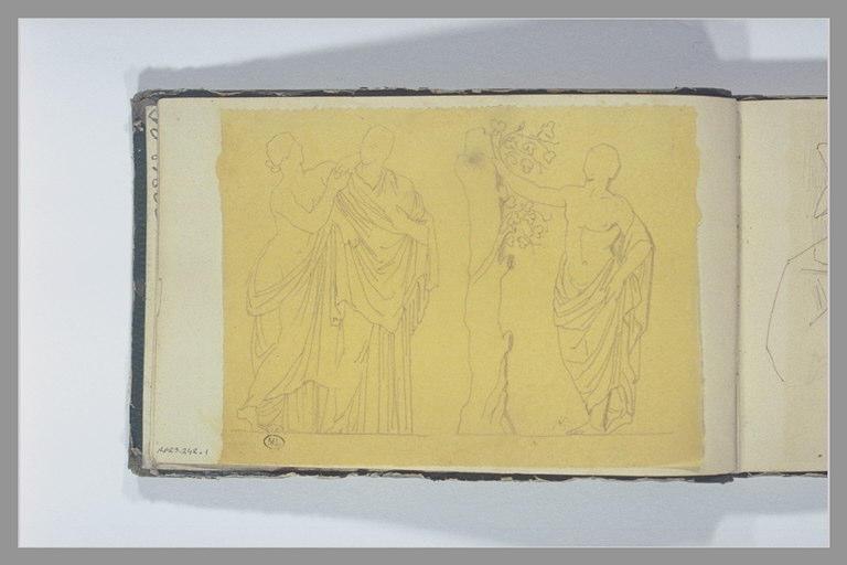 CHAPU Henri Michel Antoine : Trois figures, d'après l'antique