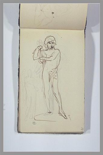 Un homme debout, jouant de la lyre ; figure, debout, drapée