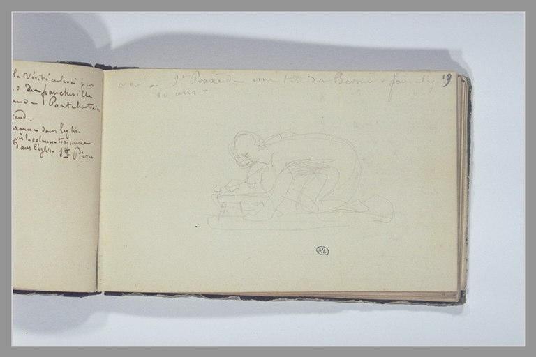 CHAPU Henri Michel Antoine : Un homme agenouillé, note manuscrite