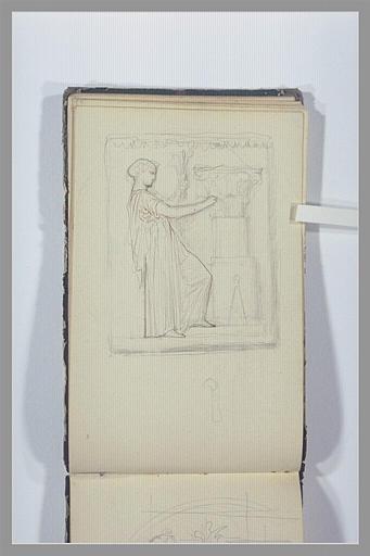 CHAPU Henri Michel Antoine : Une figure sculptant les feuillages d'acanthes d'un chapiteau