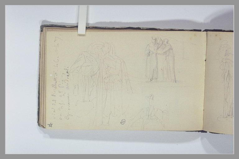 Etudes de figures en costume médiéval ; notes manuscrites_0