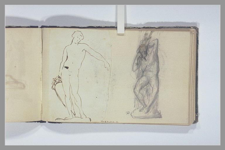 CHAPU Henri Michel Antoine : Un homme nu, assis