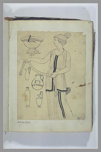 Etude d'une figure et de vases d'après l'antique