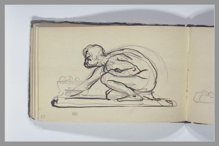 CHAPU Henri Michel Antoine : Un homme accroupi