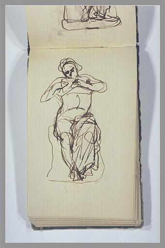 CHAPU Henri Michel Antoine : Un homme, assis, jouant de la flûte de Pan
