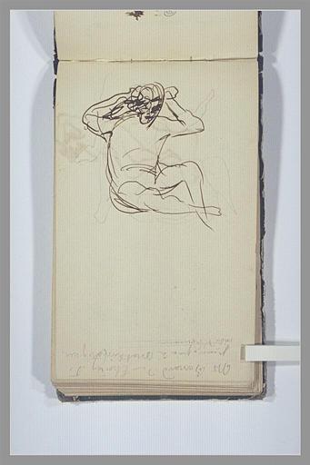 CHAPU Henri Michel Antoine : Une figure assise, note manuscrite