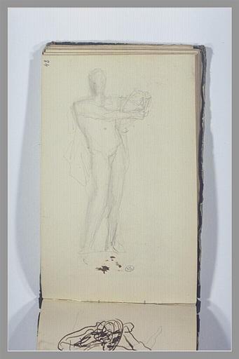CHAPU Henri Michel Antoine : Un homme nu, debout, tenant un objet
