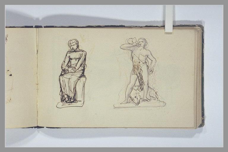 CHAPU Henri Michel Antoine : Un homme victorieux d'un sanglier, un homme assis