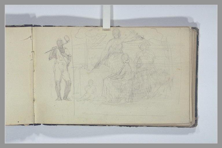 CHAPU Henri Michel Antoine : Etude de composition, homme, debout, portant une masse