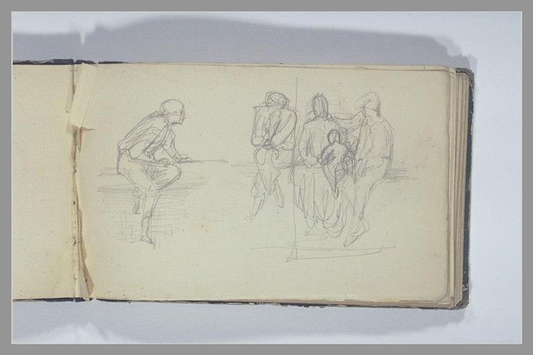 Hommes et femmes assise sur une margelle