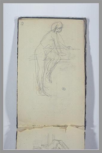 CHAPU Henri Michel Antoine : Un homme appuyé sur une margelle