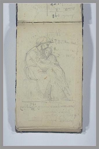 CHAPU Henri Michel Antoine : Une jeune fille dans les bras d'une femme assise, notes manuscrites