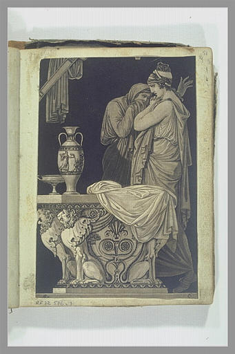 Etude de figures d'après l'antique, dans un intérieur