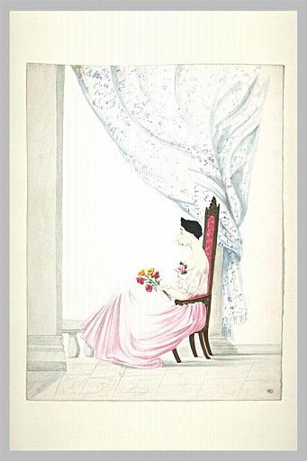 Caricature : femme assise de profil vers la gauche