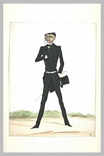 Homme en frac debout, de face, tenant un chapeau et une canne dans la main
