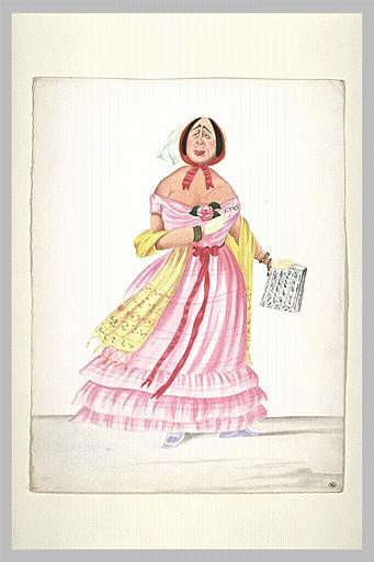 Femme âgée debout vêtu d'un habit rose, tenant une partition