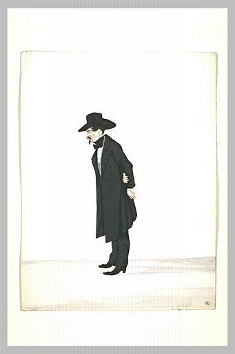 Homme en redingote noire, debout, les mains derrière le dos_0