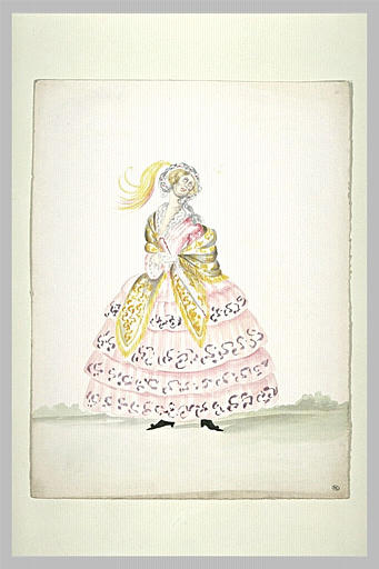 Coquette âgée, vêtue d'une robe à crinoline rose, debout, de face