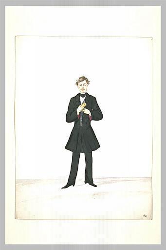 Homme en redingote noire, debout, de face, un étui à cigares dans ses mains