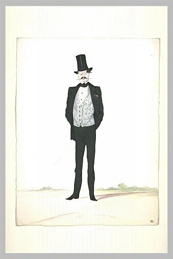 Homme grand et maigre, debout, vêtu d'un costume noir