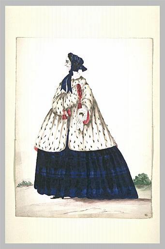 Vieille dame vêtue d'une robe bleue et noire et d'un manteau d'hermine_0