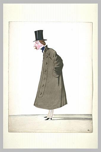 Homme debout, coiffé d'un haut-de-forme, vêtu d'un grand pardessus brun