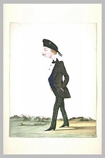 Jeune homme en jaquette, marchant vers la gauche