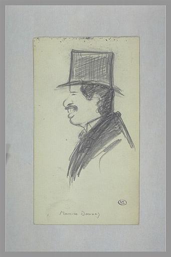 CAPPIELLO Leonetto : Homme coiffé d'un haut-de-forme, vu en buste, de profil vers la gauche, Maurice Donnay (titre inscrit)