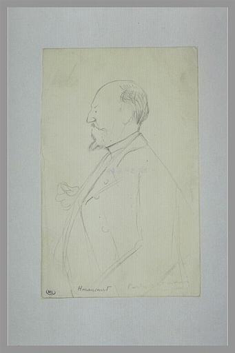 Homme portant moustache et barbe, vu à mi-corps, tenant un objet ; Edmond Haraucourt (titre inscrit)