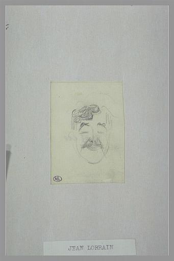 Tête d'homme, les yeux fermés, la bouche pincée, vue de face ; Jean Lorrain (titre inscrit)