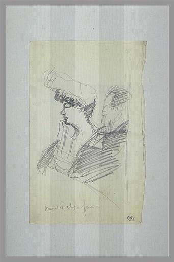 Couple au théâtre, à mi-corps, regardant vers la gauche ; Mendès et sa femme (titre inscrit)