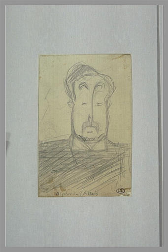 CAPPIELLO Leonetto : Homme moustachu, vu en buste, de face, croquis d'un profil d'homme, Alphonse Allais (titre inscrit)