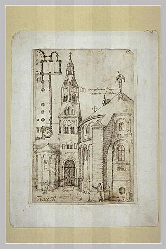 Vue d'une église avec plan partiel en haut à gauche