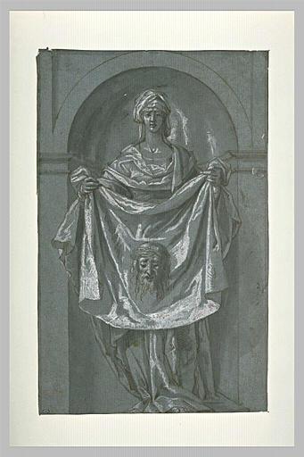 Saint Véronique, debout dans une niche, montrant la Sainte Face