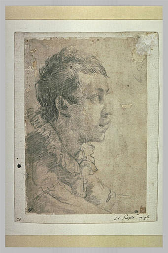 Buste de jeune homme, de profil, vers la droite