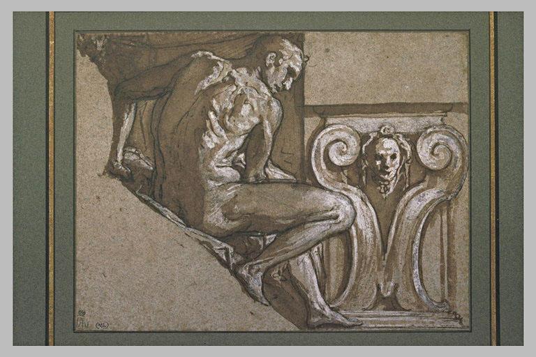 Ignudo assis, de profil à droite, avec motif décoratif