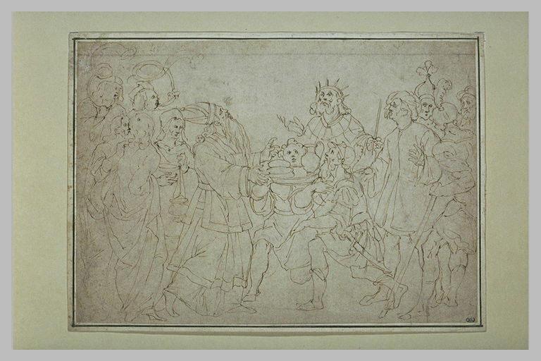 Guerrier devant un prêtre, un roi et un serviteur portant le vin et le pain