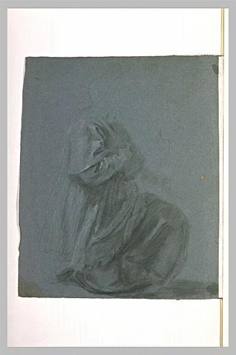 Etude de la draperie d'un homme agenouillé, de profil vers la droite