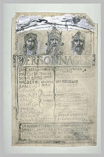 Projet de frontispice pour Macbeth orné de trois têtes couronnées